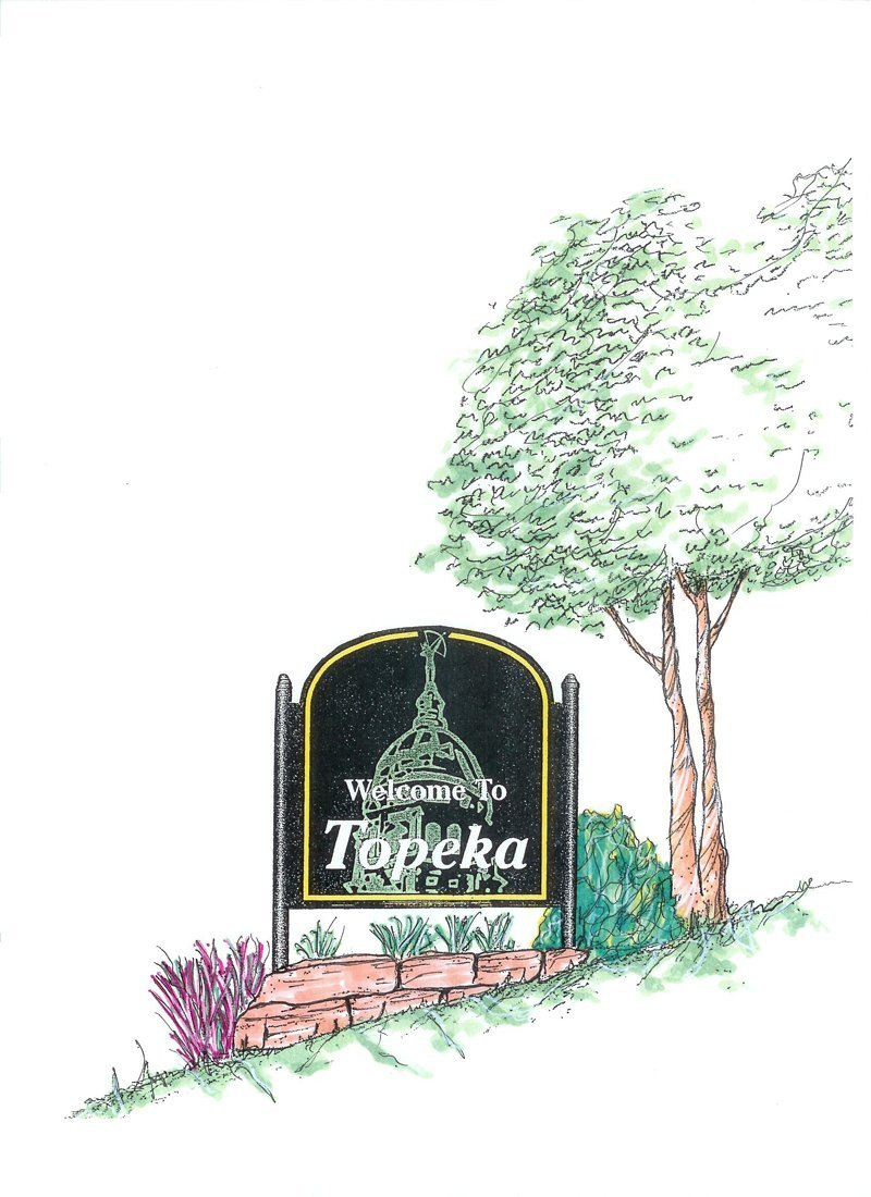Welcome to Topeka Signs Color Illustration