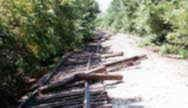 Photo by KDOT (Rail Affairs) in Washington County 1993.  The shoulder is washed out and the track was moved by running rain water.