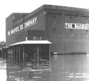 The Railway Ice Company flooded in Topeka, Kansas.
