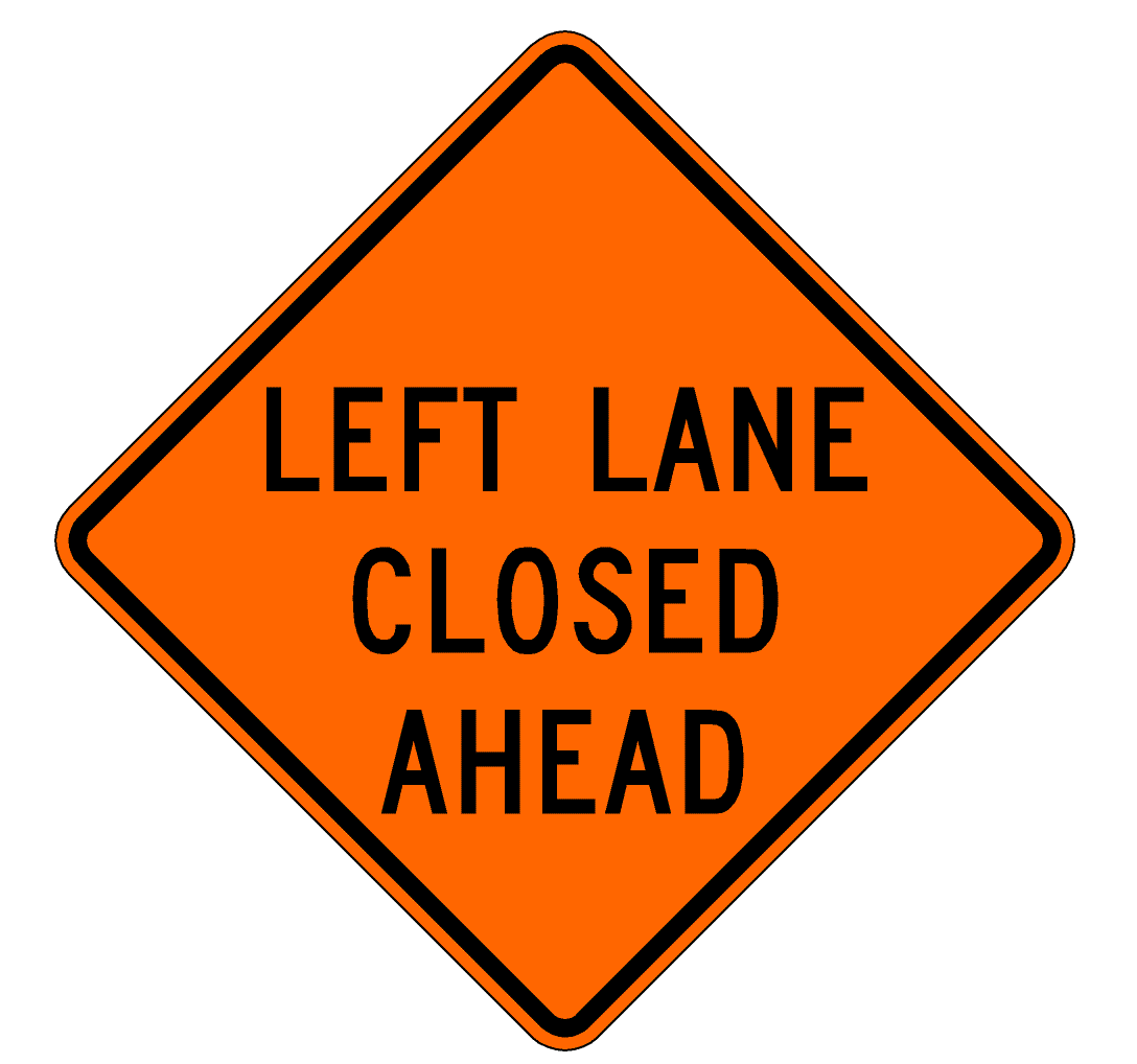 Lane closed ahead