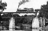 Train crossing the Walnut River at Winfield, Kansas in Cowley County.