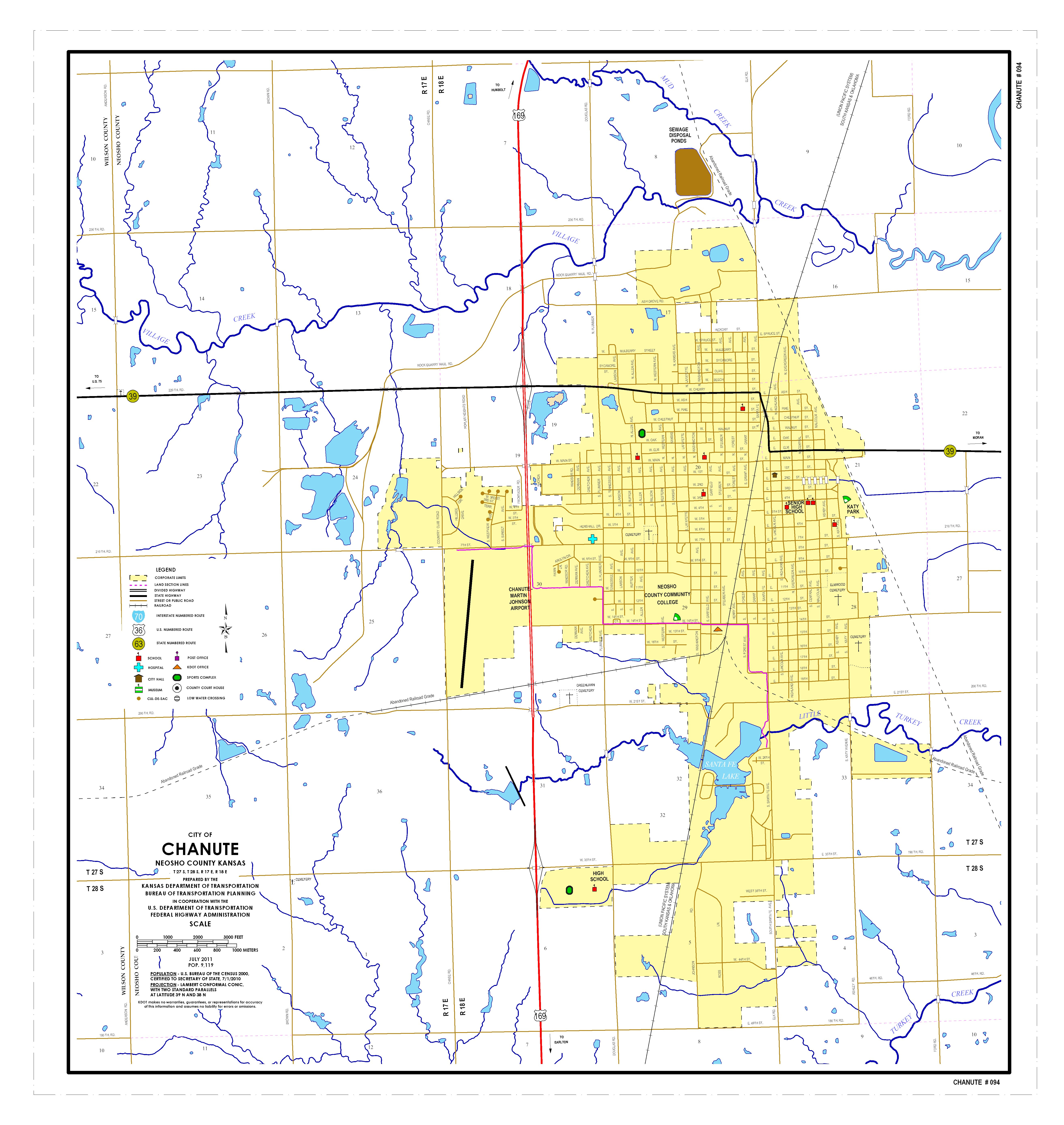Chanute Kansas Map.Kdot City Maps Sorted By City Name